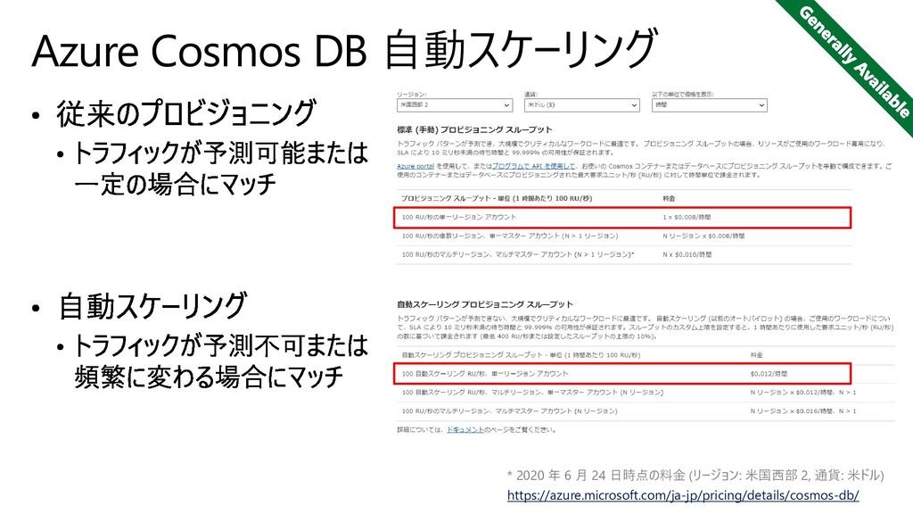 Azure Cosmos DB 自動スケーリング * 2020 年 6 月 24 日時点の料金...
