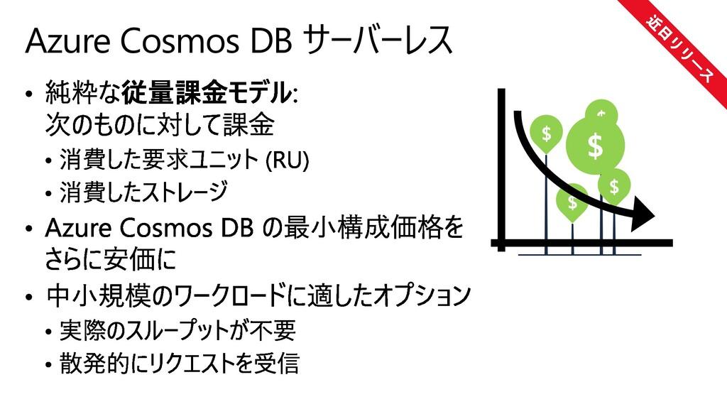 Azure Cosmos DB サーバーレス $ $ $ $ $