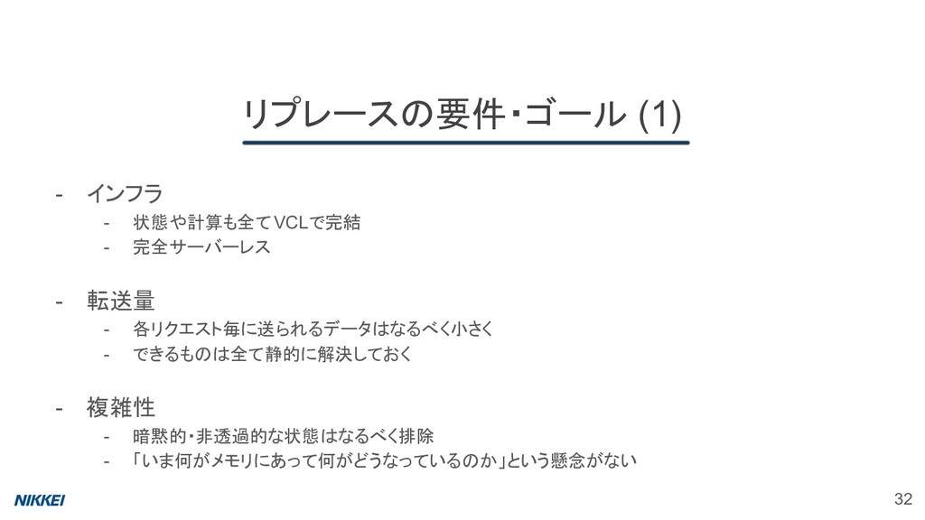 リプレースの要件・ゴール (1) 32 - インフラ - 状態や計算も全てVCLで完結 - 完...