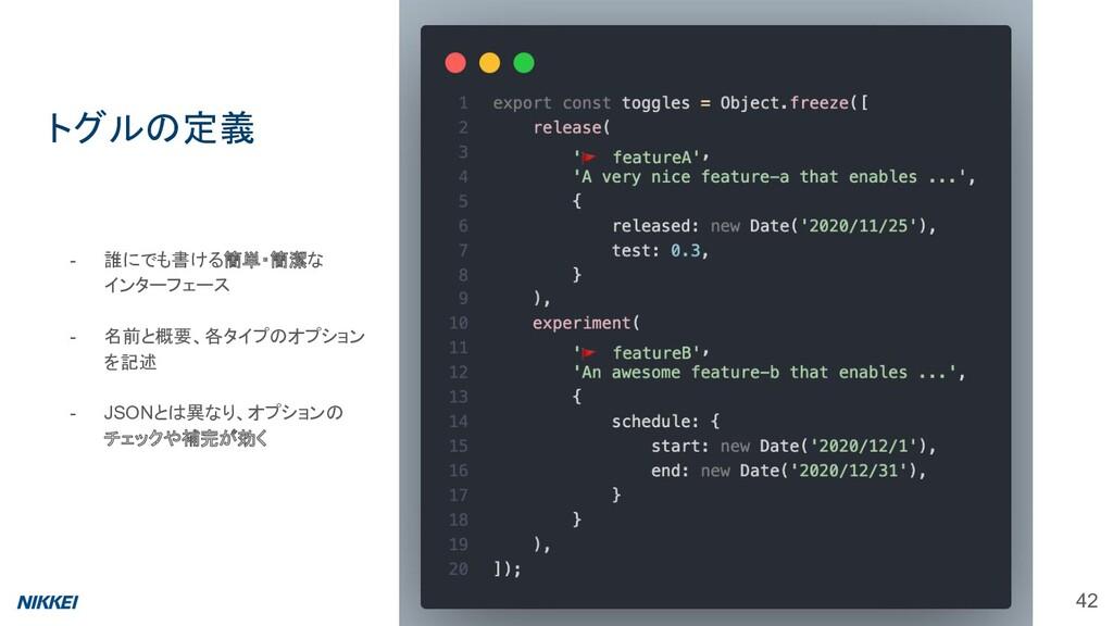 - 誰にでも書ける簡単・簡潔な インターフェース - 名前と概要、各タイプのオプション を記述...