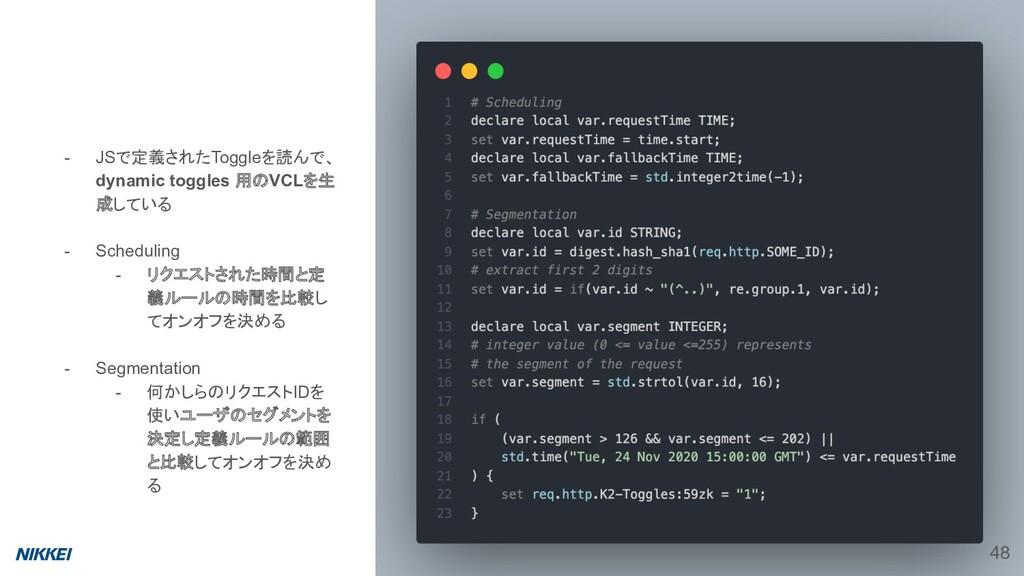 - JSで定義されたToggleを読んで、 dynamic toggles 用のVCLを生 成...