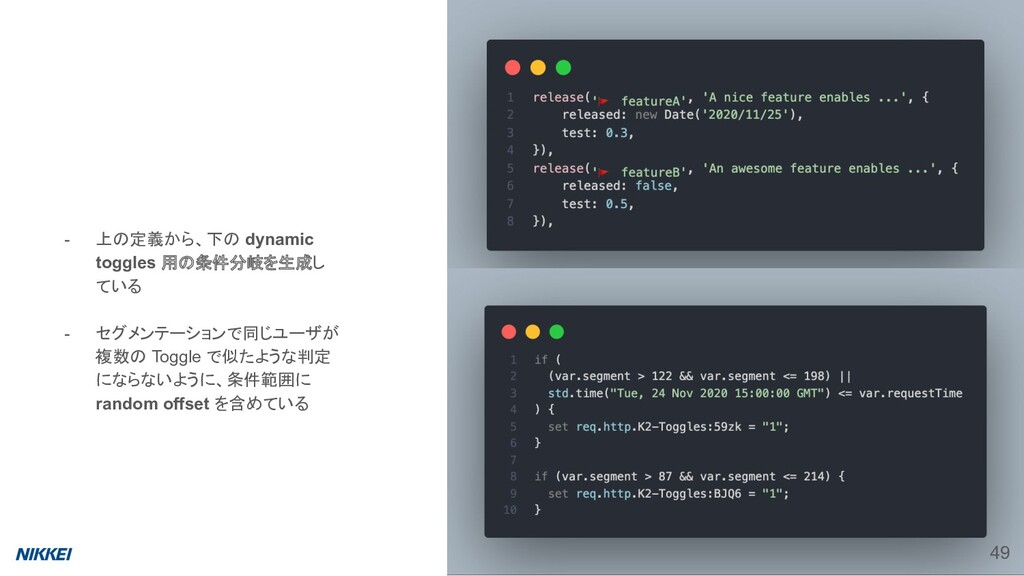 - 上の定義から、下の dynamic toggles 用の条件分岐を生成し ている - セグ...