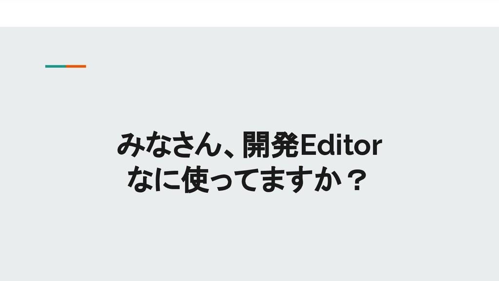 みなさん、開発Editor なに使ってますか?