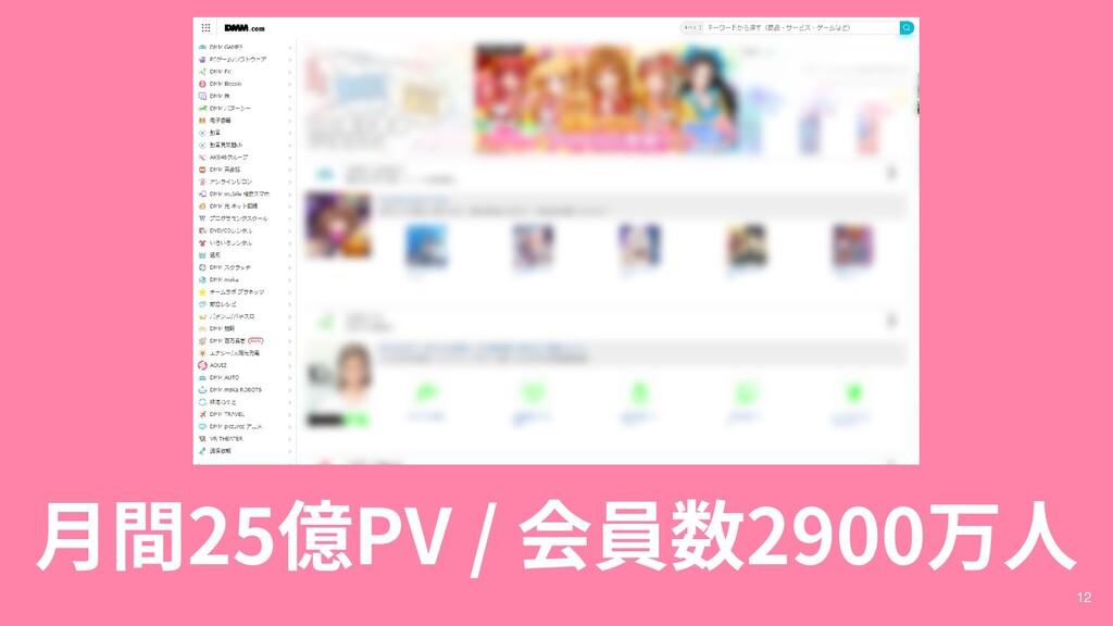 月間25億PV / 会員数2900万人 12