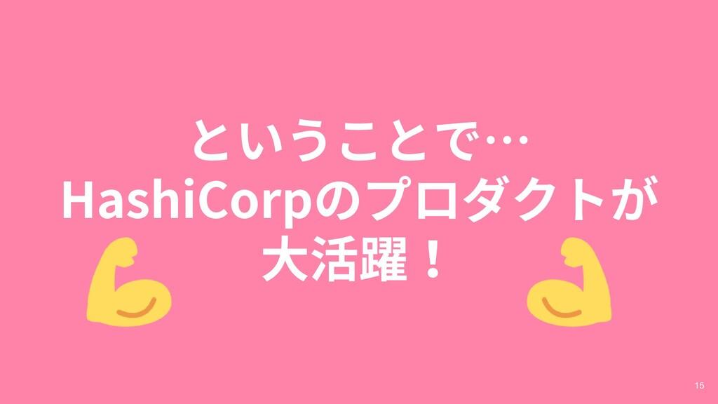 ということで… HashiCorpのプロダクトが 大活躍! 15