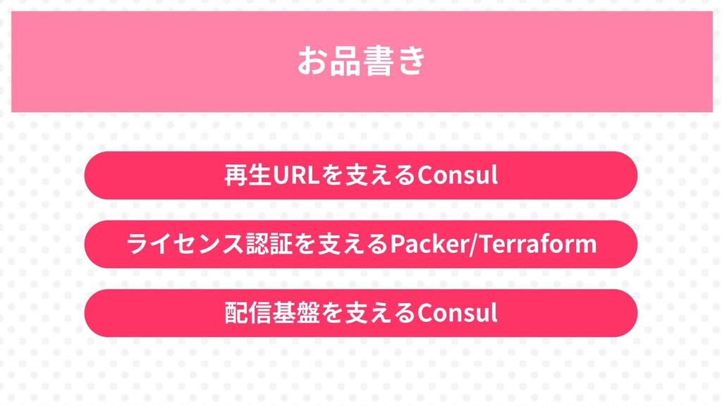 27 お品書き 再生URLを支えるConsul ライセンス認証を支えるPacker/Terra...
