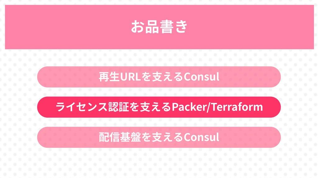 31 お品書き 再生URLを支えるConsul ライセンス認証を支えるPacker/Terra...