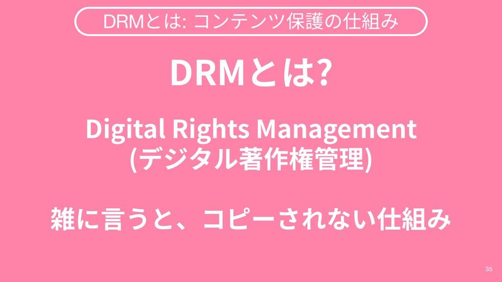 35 DRMとは: コンテンツ保護の仕組み DRMとは? Digital Rights Man...