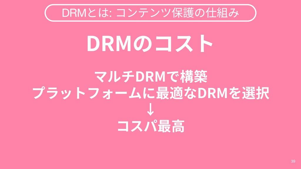 39 DRMとは: コンテンツ保護の仕組み DRMのコスト マルチDRMで構築 プラットフォー...