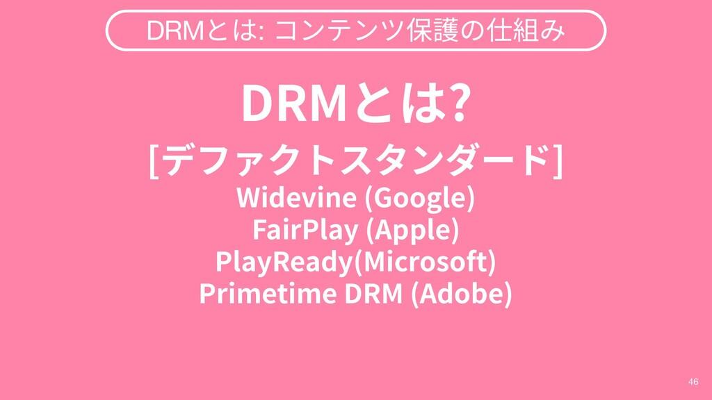 46 DRMとは: コンテンツ保護の仕組み DRMとは? [デファクトスタンダード] Wide...