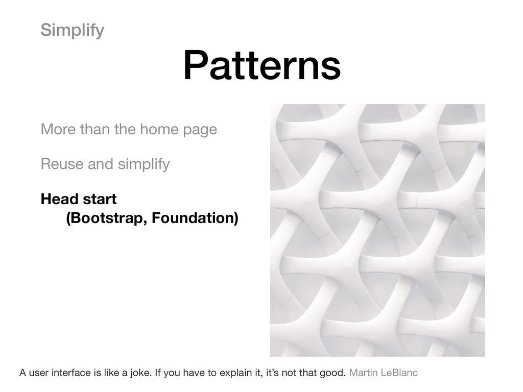 Simplify Patterns More than the home page  Reus...