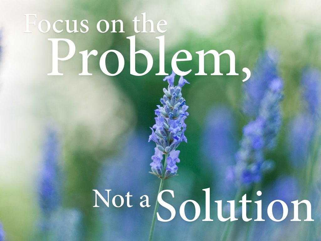 Focus on the Problem, Not aSolution