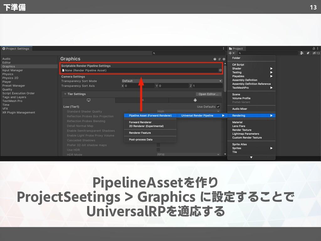 13 PipelineAssetを作り ProjectSeetings > Graphics ...