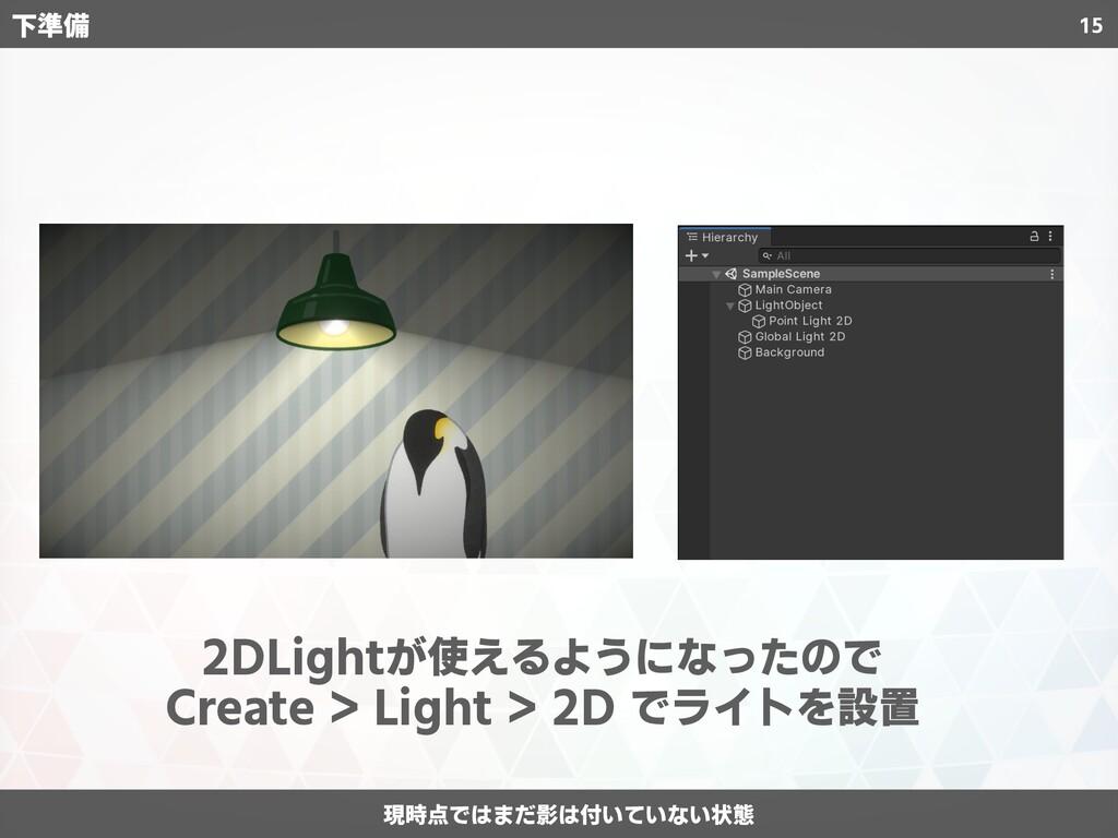 15 下準備 2DLightが使えるようになったので Create > Light > 2D ...