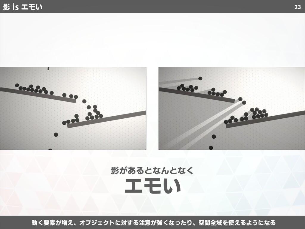 23 動く要素が増え、オブジェクトに対する注意が強くなったり、空間全域を使えるようになる 影が...
