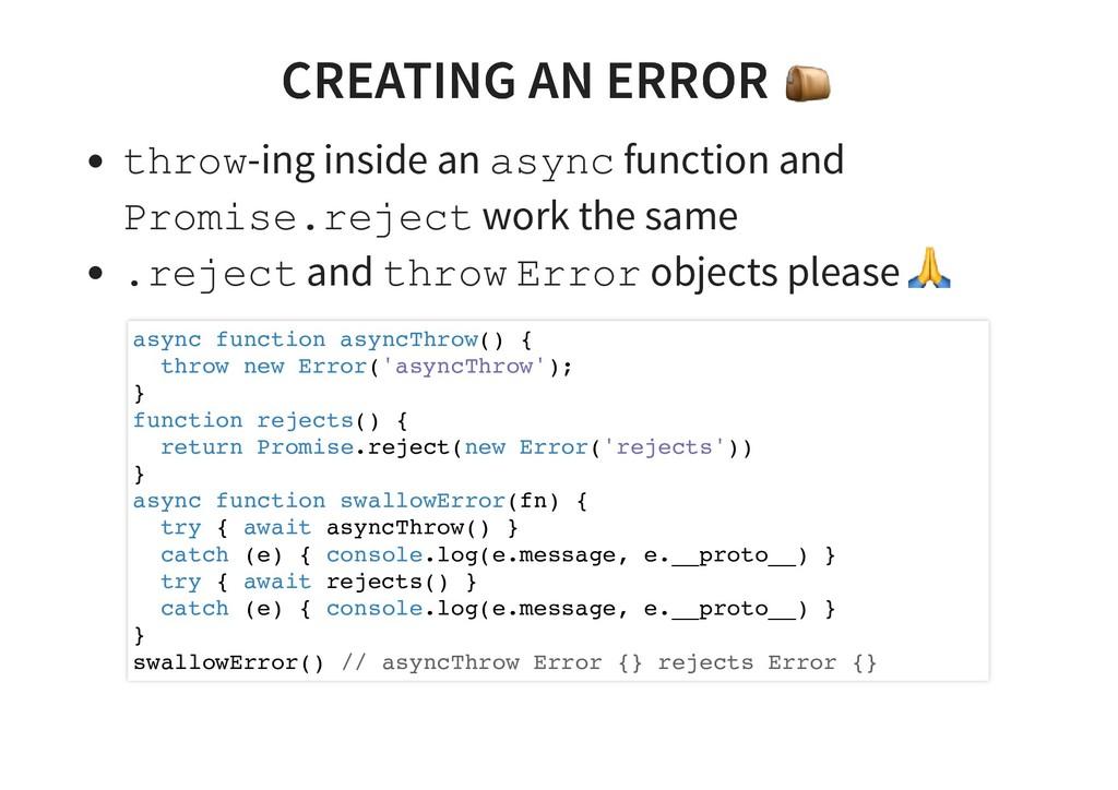CREATING AN ERROR CREATING AN ERROR throw-ing i...