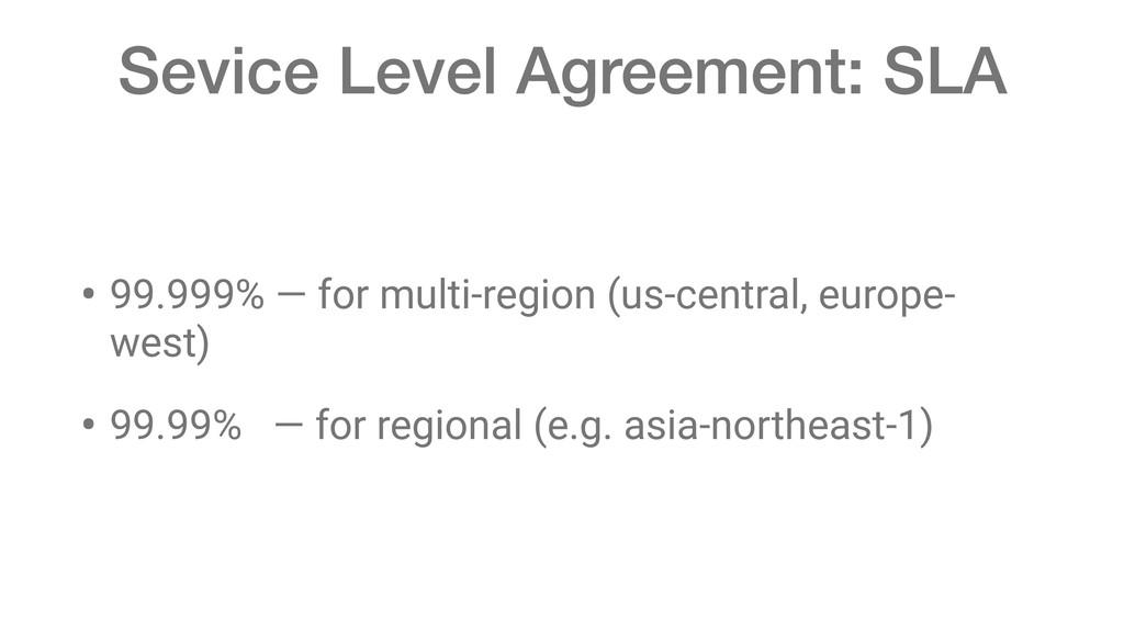 Sevice Level Agreement: SLA • 99.999% — for mul...
