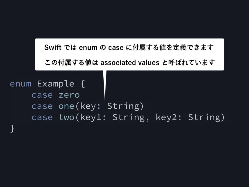enum Example { case zero case one(key: String) ...