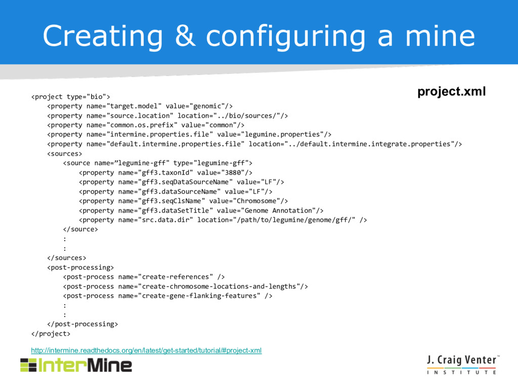 """Creating & configuring a mine <project type=""""bi..."""
