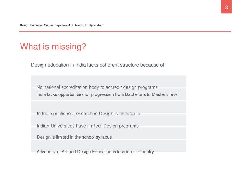 What is missing? Design Innovation Centre, Depa...