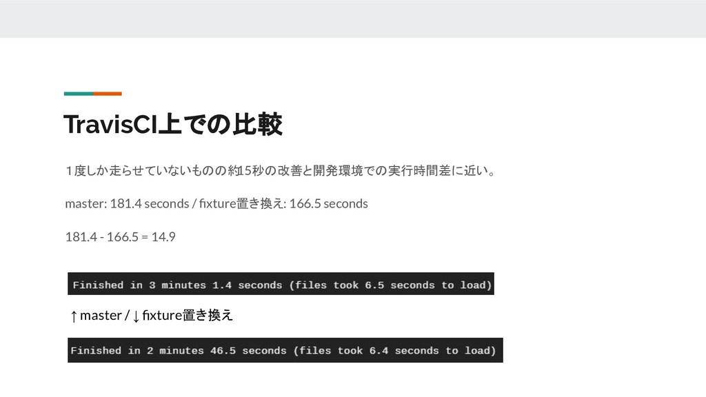 TravisCI上での比較 1度しか走らせていないものの約 15秒の改善と開発環境での実行時間...