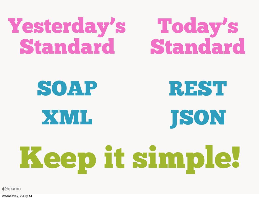 Yesterday's Standard SOAP XML Today's Standard ...