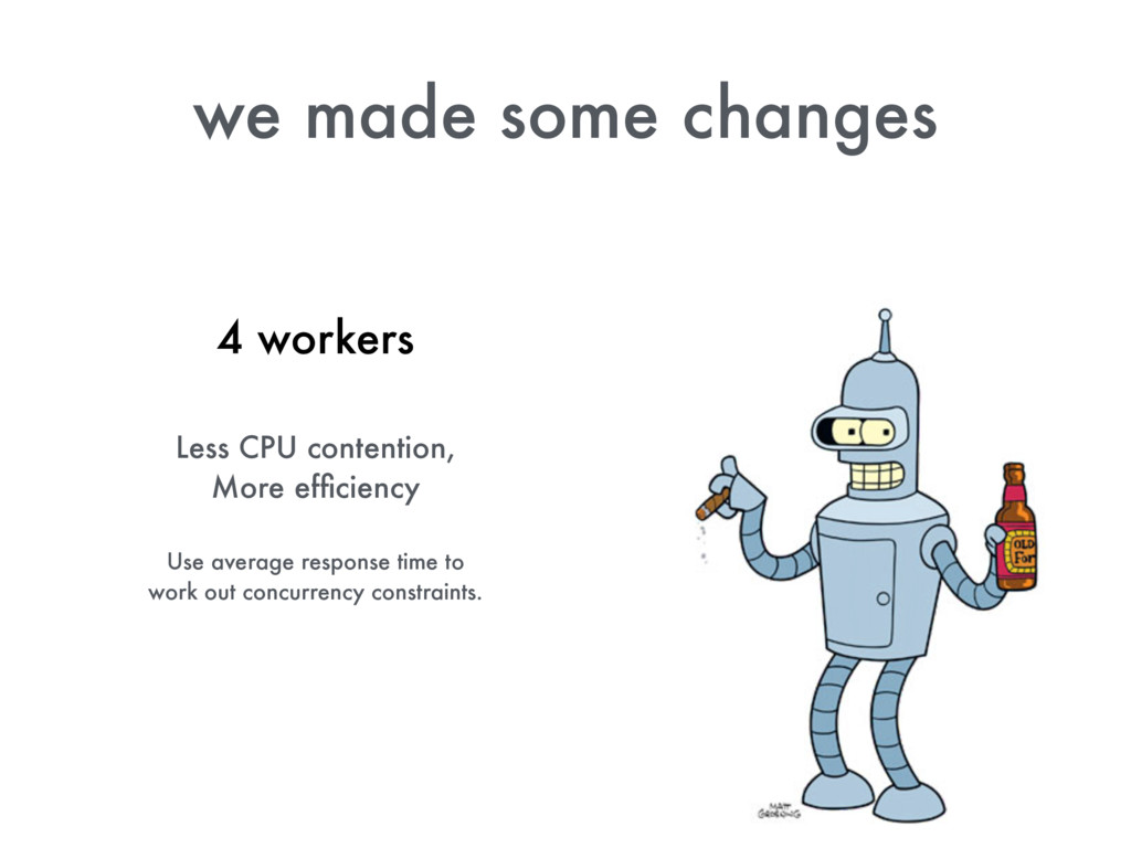 we made some changes 4 workers Less CPU content...