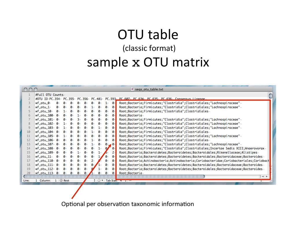 OpOonal per observaOon taxonomic in...