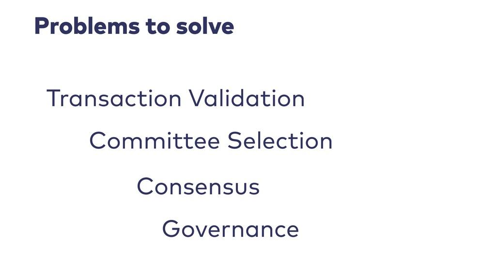 Problems to solve Transaction Validation Consen...