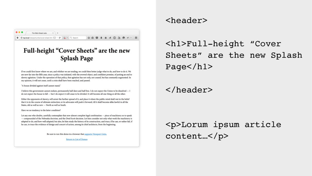 """<header> <h1>Full-height """"Cover Sheets"""" are the..."""