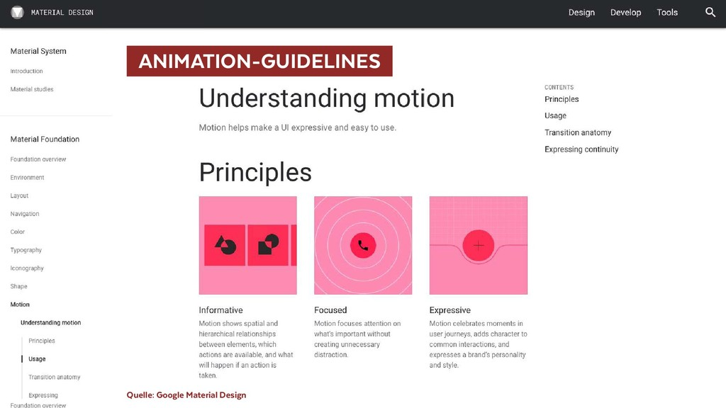 ANIMATION-GUIDELINES  Quelle: Google Material ...