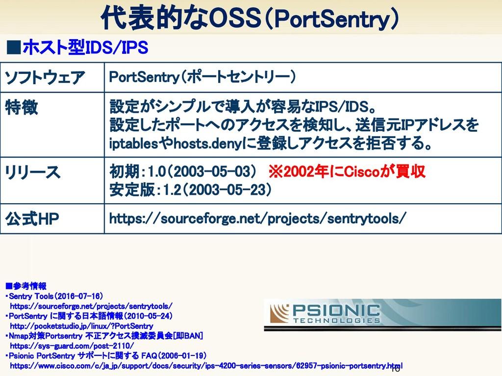 代表的なOSS(PortSentry) 16 ■ホスト型IDS/IPS ソフトウェア P...