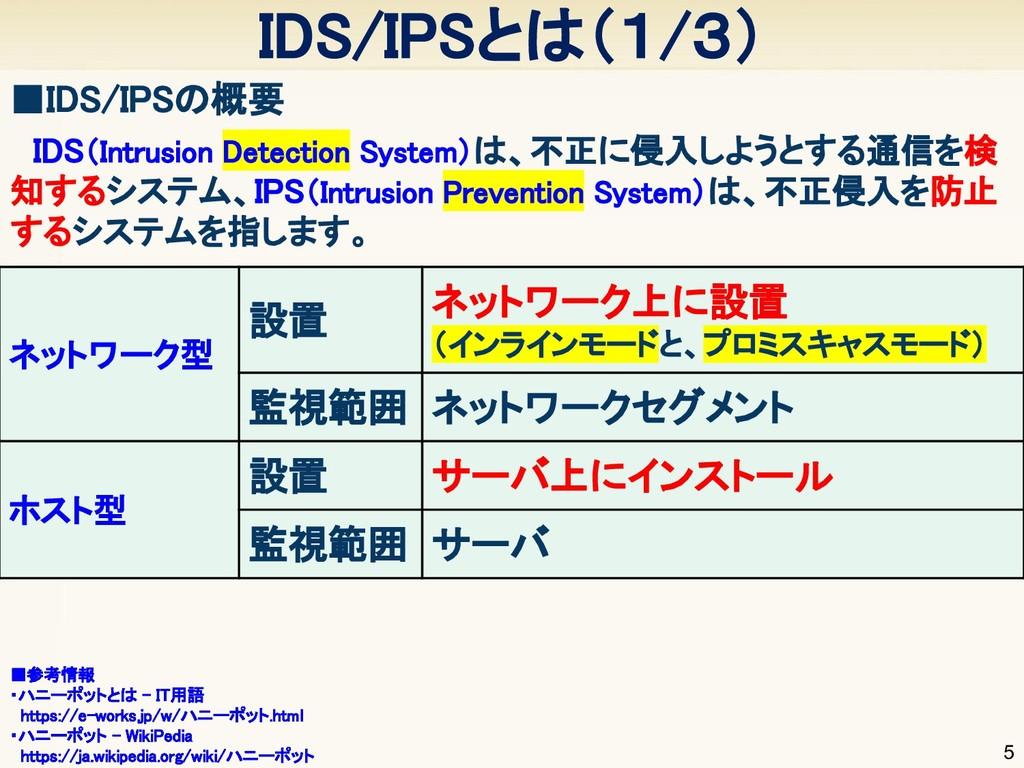 IDS/IPSとは(1/3) 5 ■IDS/IPSの概要   ■参考情報 ・ハニーポット...