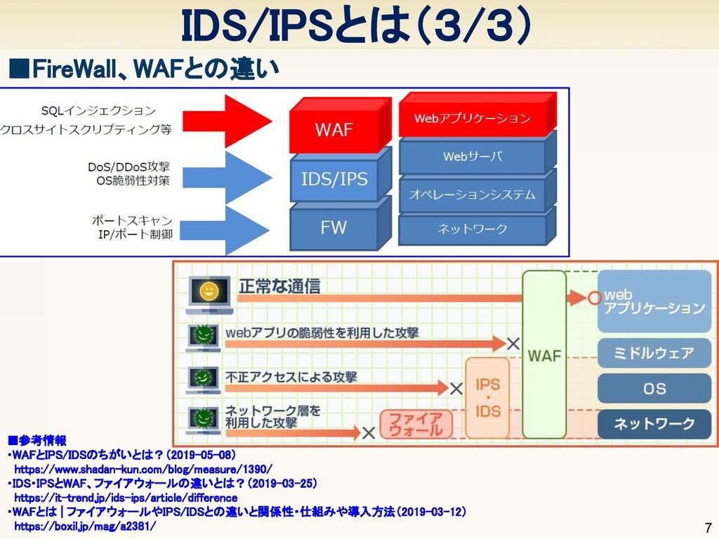7 IDS/IPSとは(3/3) ■FireWall、WAFとの違い ■参考情報 ・WA...