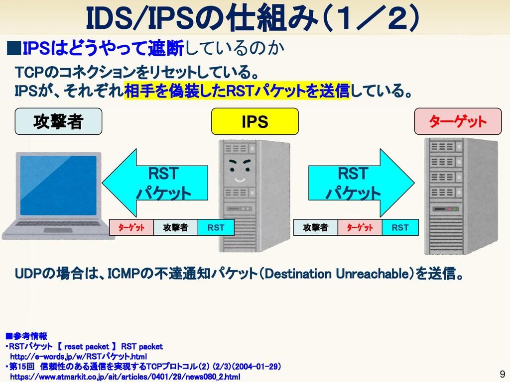 IDS/IPSの仕組み(1/2) 9 ■IPSはどうやって遮断しているのか  TCPのコネ...