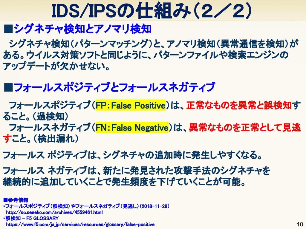 IDS/IPSの仕組み(2/2) 10  シグネチャ検知(パターンマッチング)と、アノマリ検...