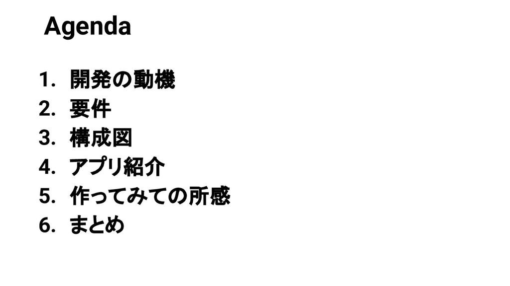 Agenda 1. 開発の動機 2. 要件 3. 構成図 4. アプリ紹介 5. 作ってみての...
