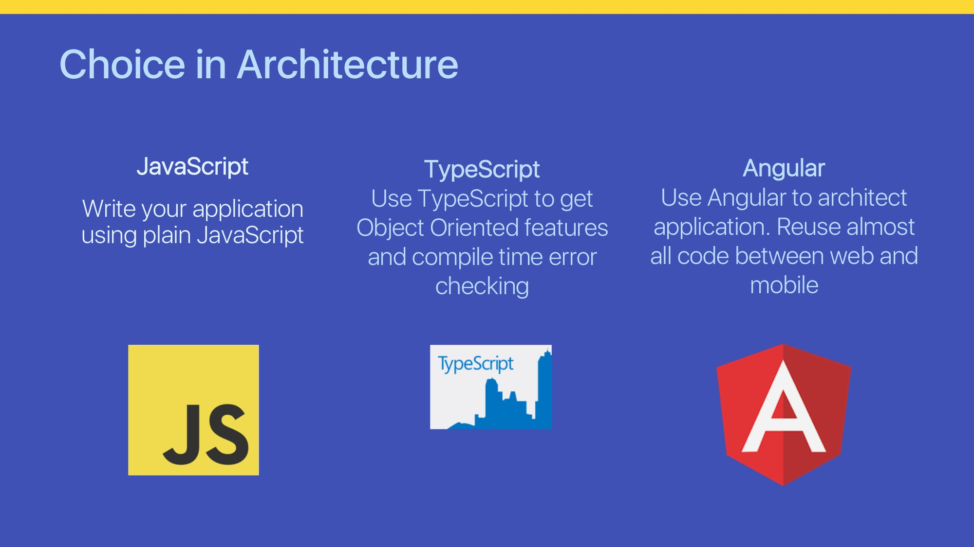Choice in Architecture JavaScript Write your ap...