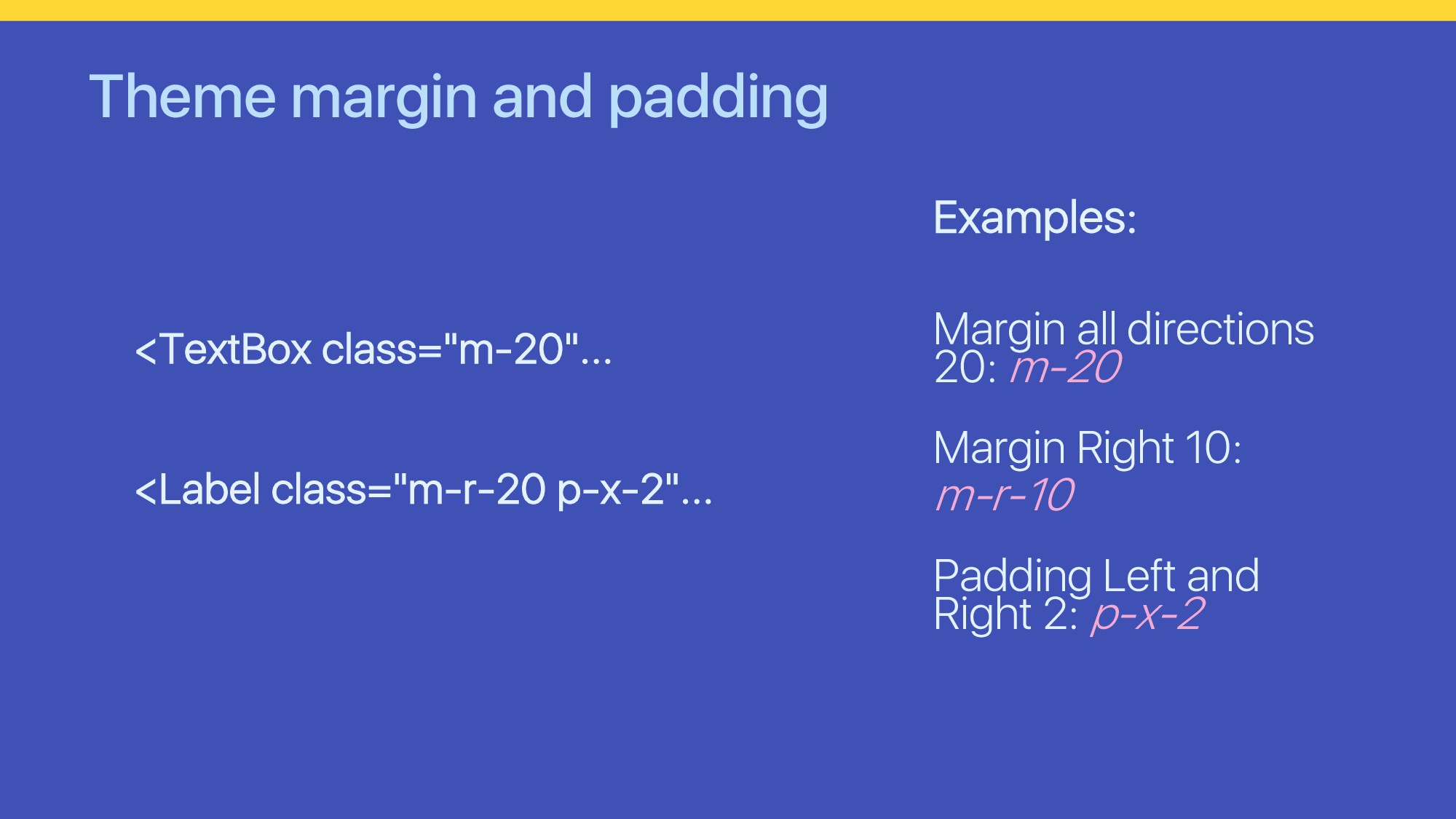 "Theme margin and padding <TextBox class=""m-20""...."