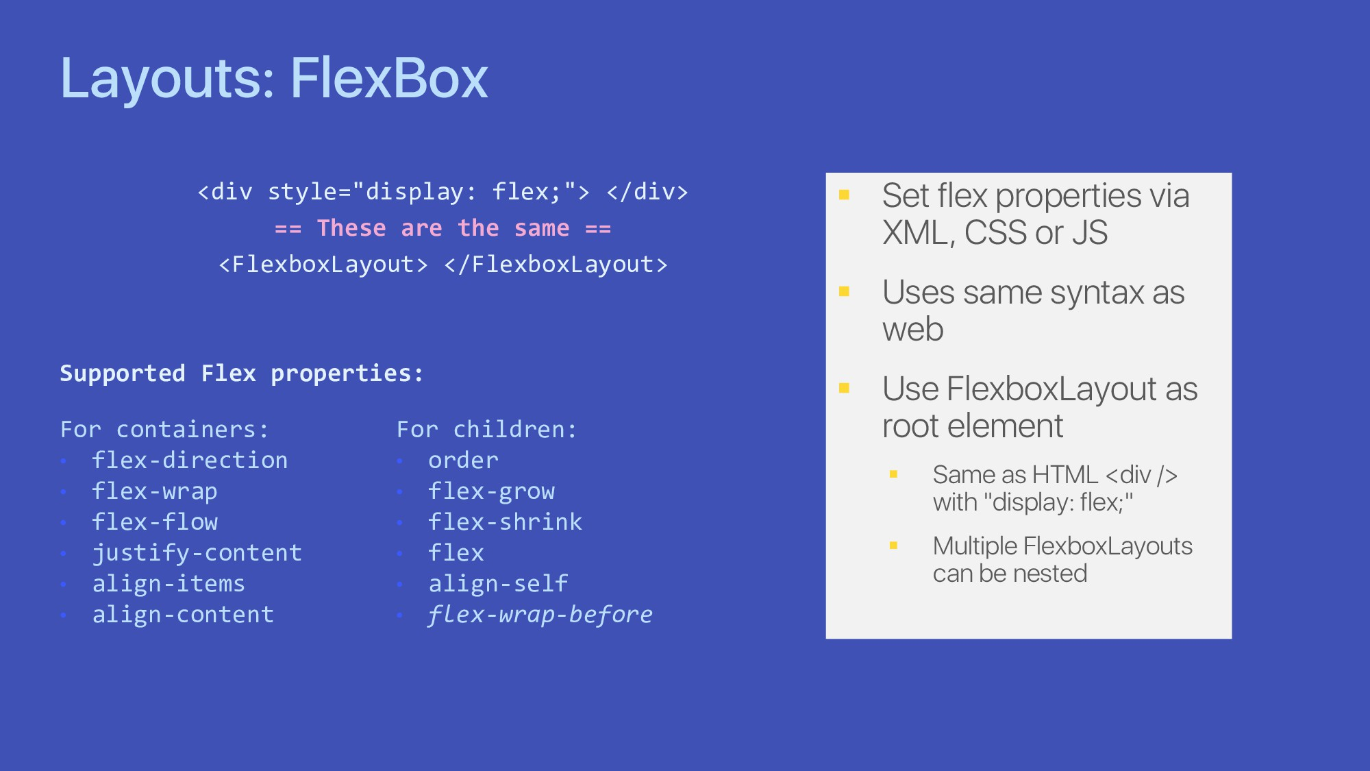 "Layouts: FlexBox <div style=""display: flex;""> <..."