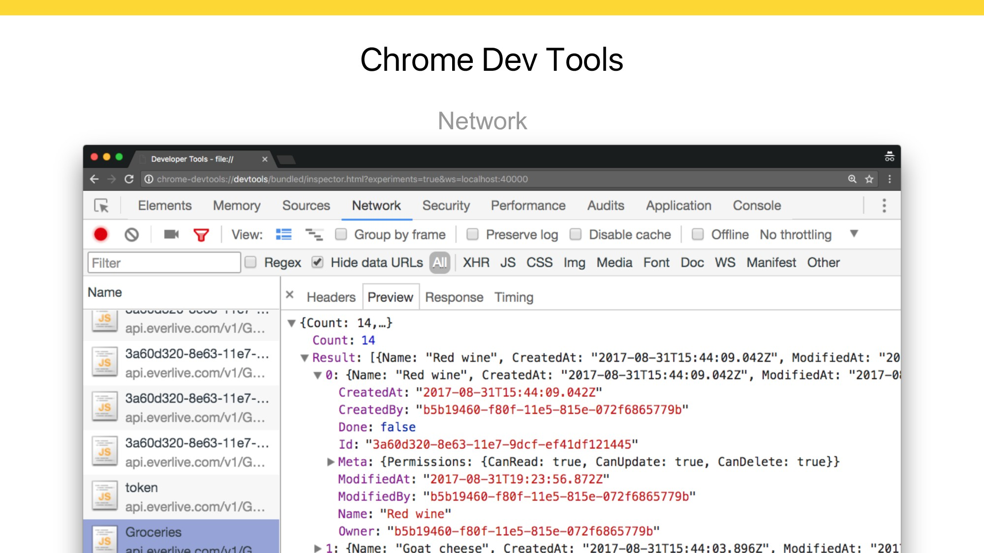 Chrome Dev Tools Network