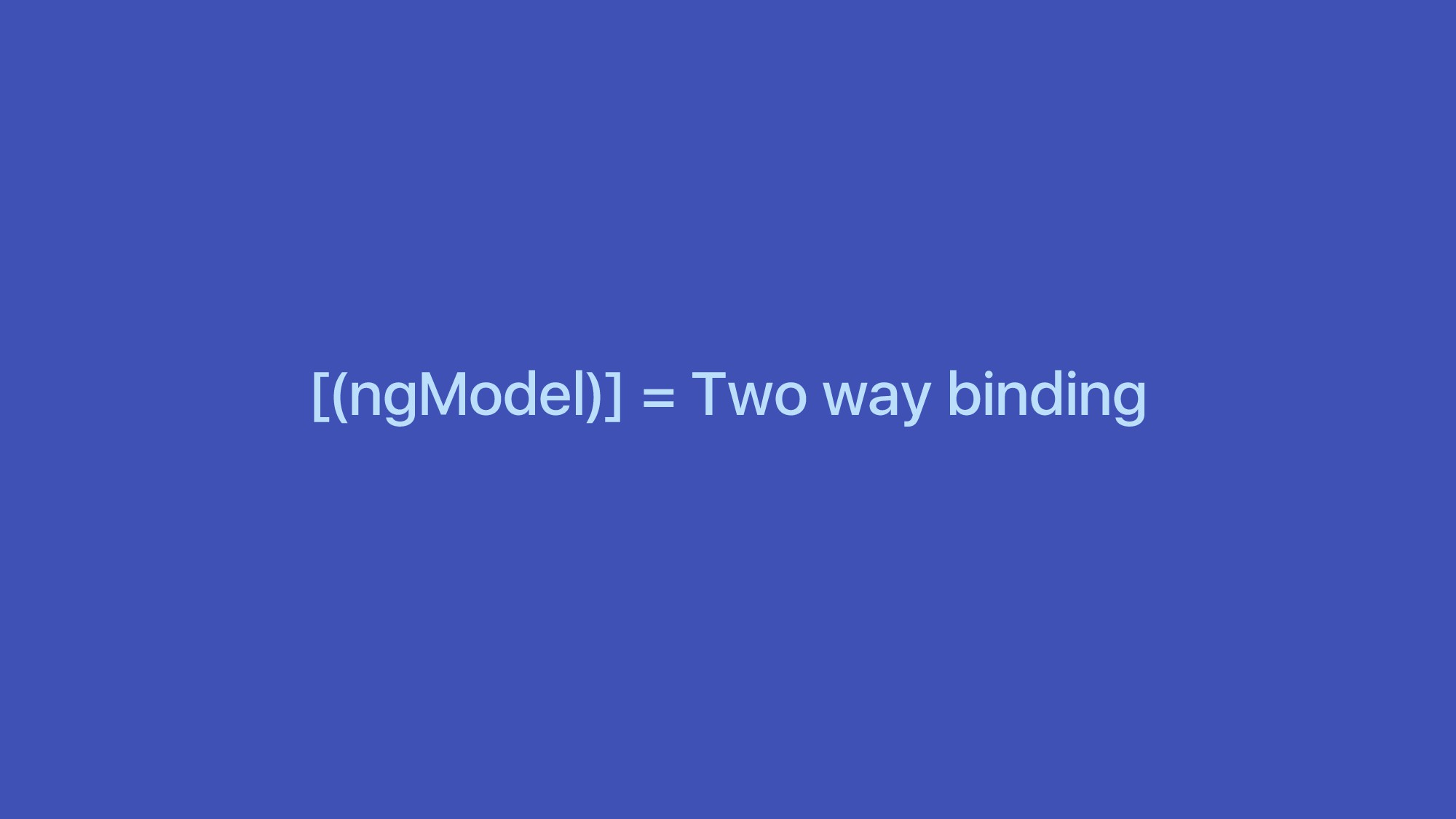 [(ngModel)] = Two way binding