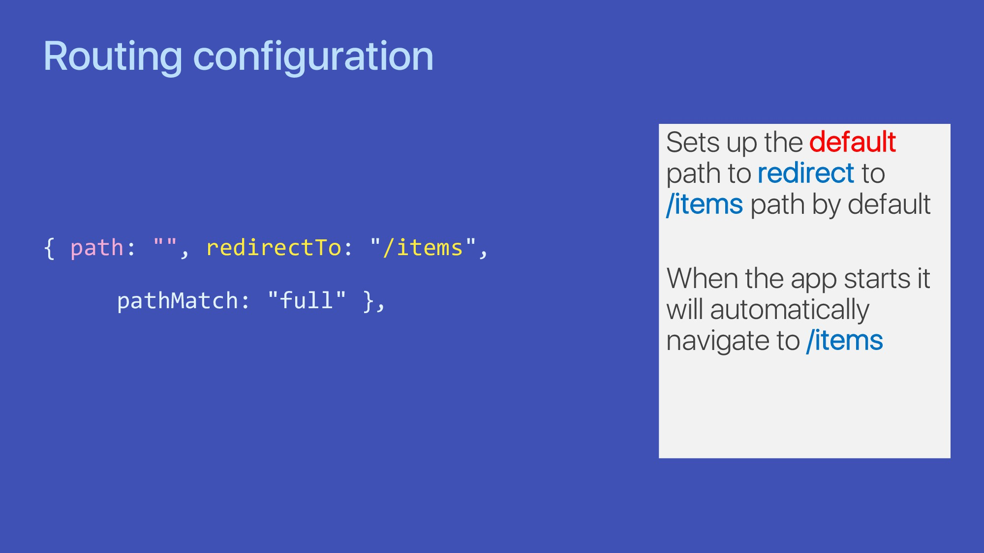 "Routing configuration { path: """", redirectTo: ""..."