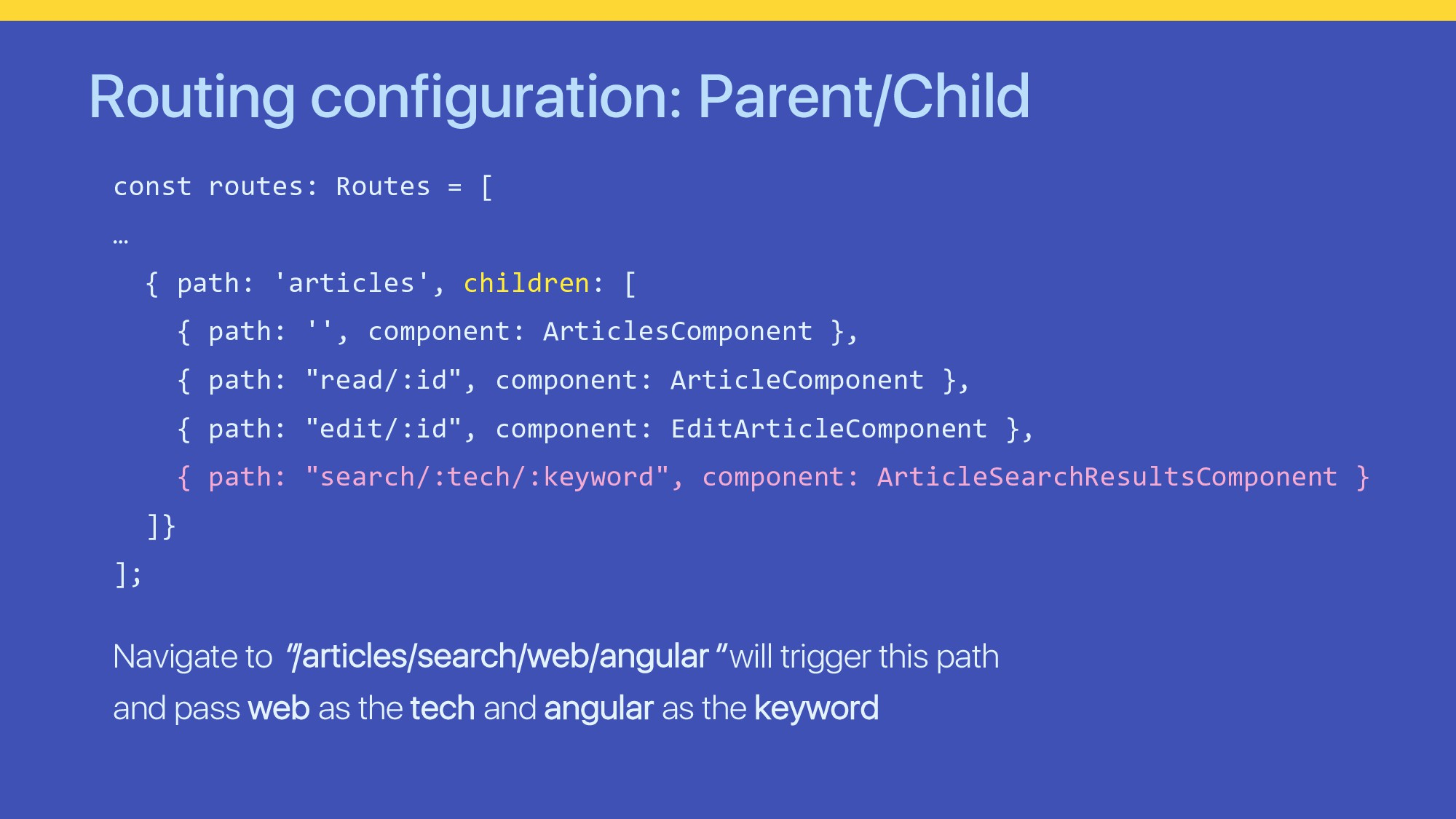Routing configuration: Parent/Child const route...