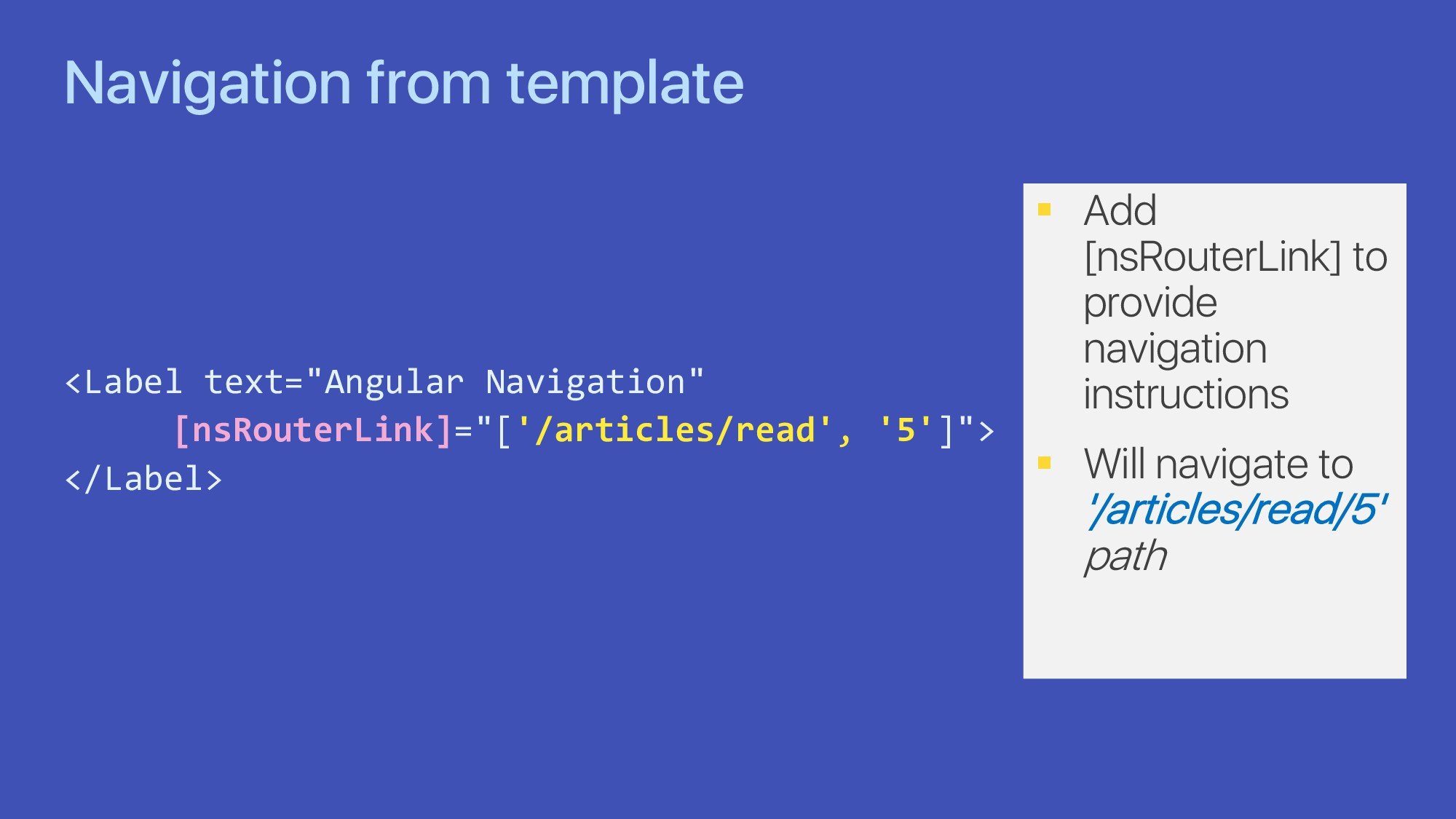 "Navigation from template <Label text=""Angular N..."