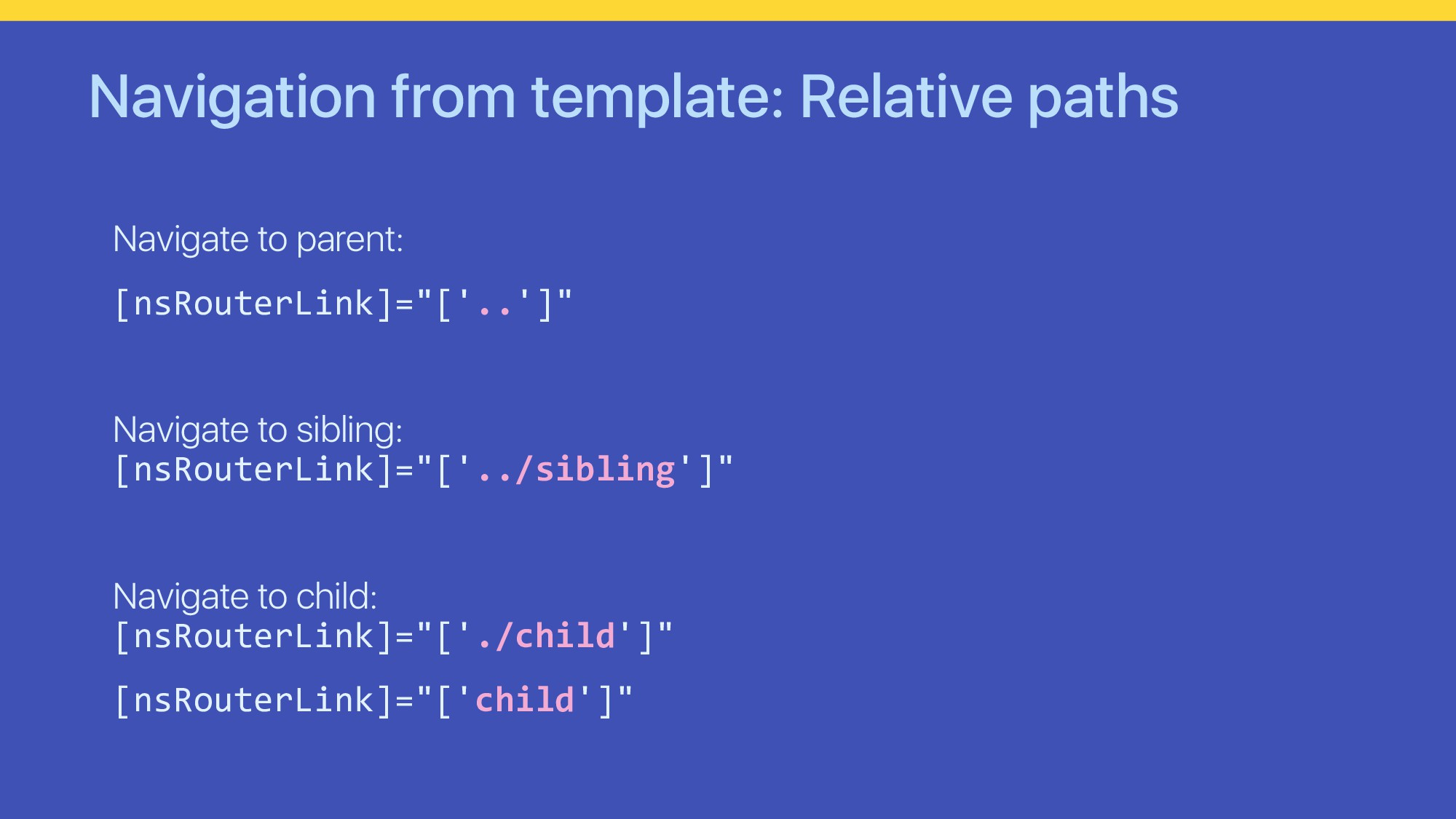 Navigation from template: Relative paths Naviga...