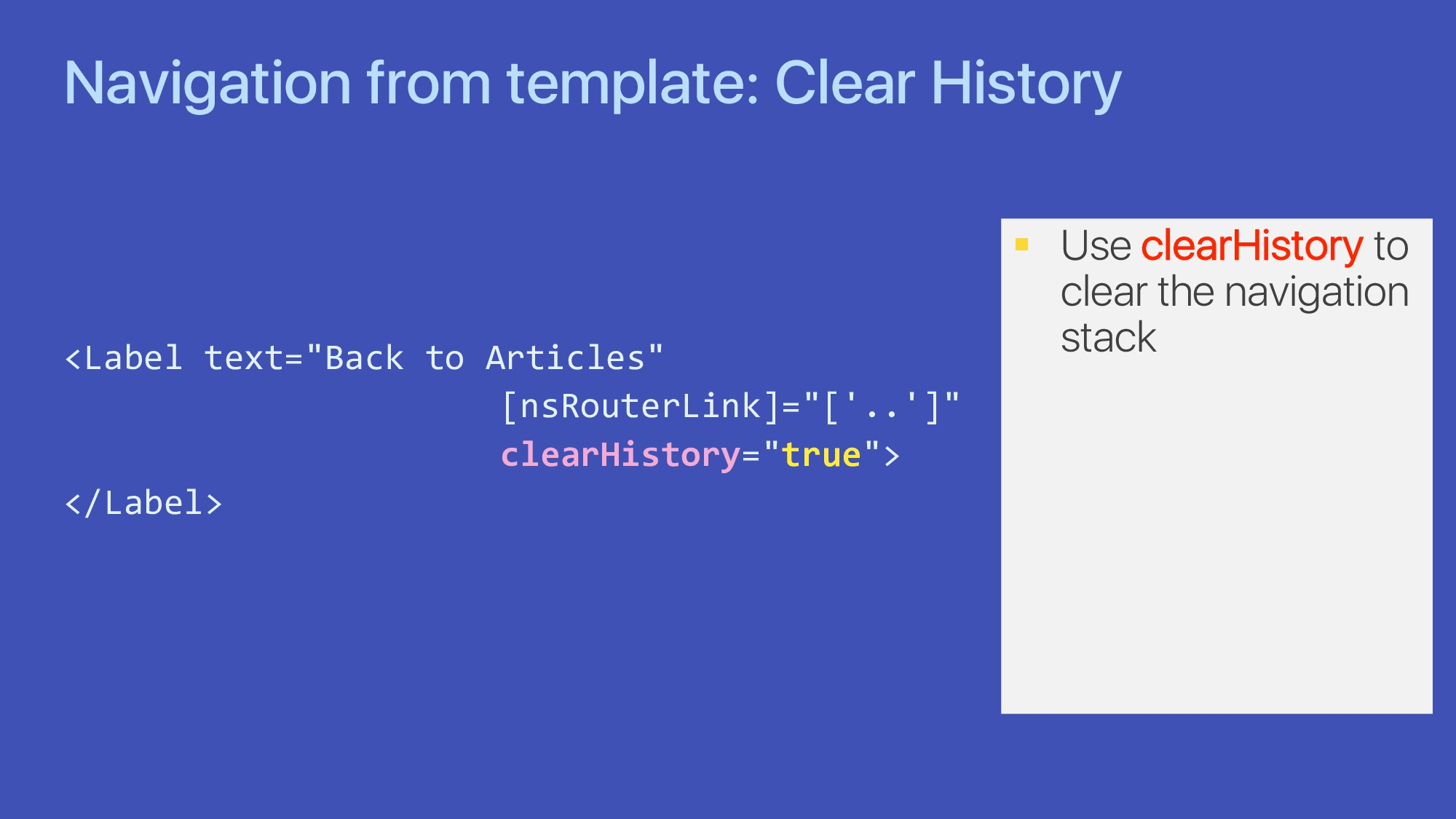 Navigation from template: Clear History <Label ...