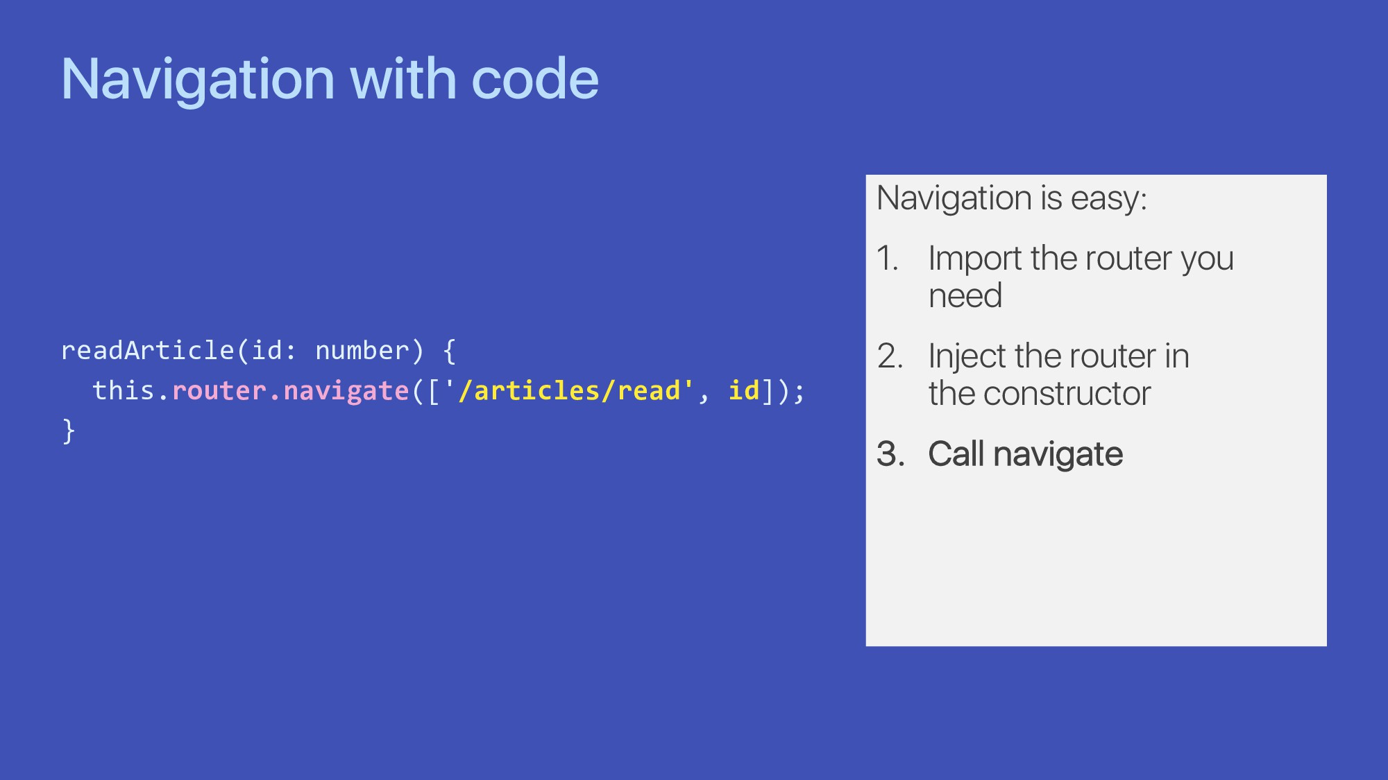 Navigation with code readArticle(id: number) { ...