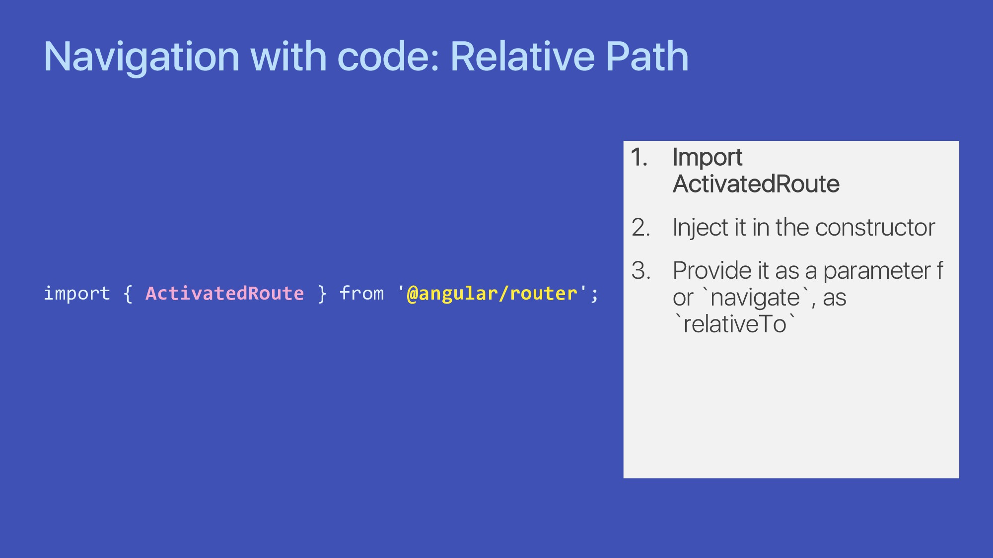 Navigation with code: Relative Path import { Ac...