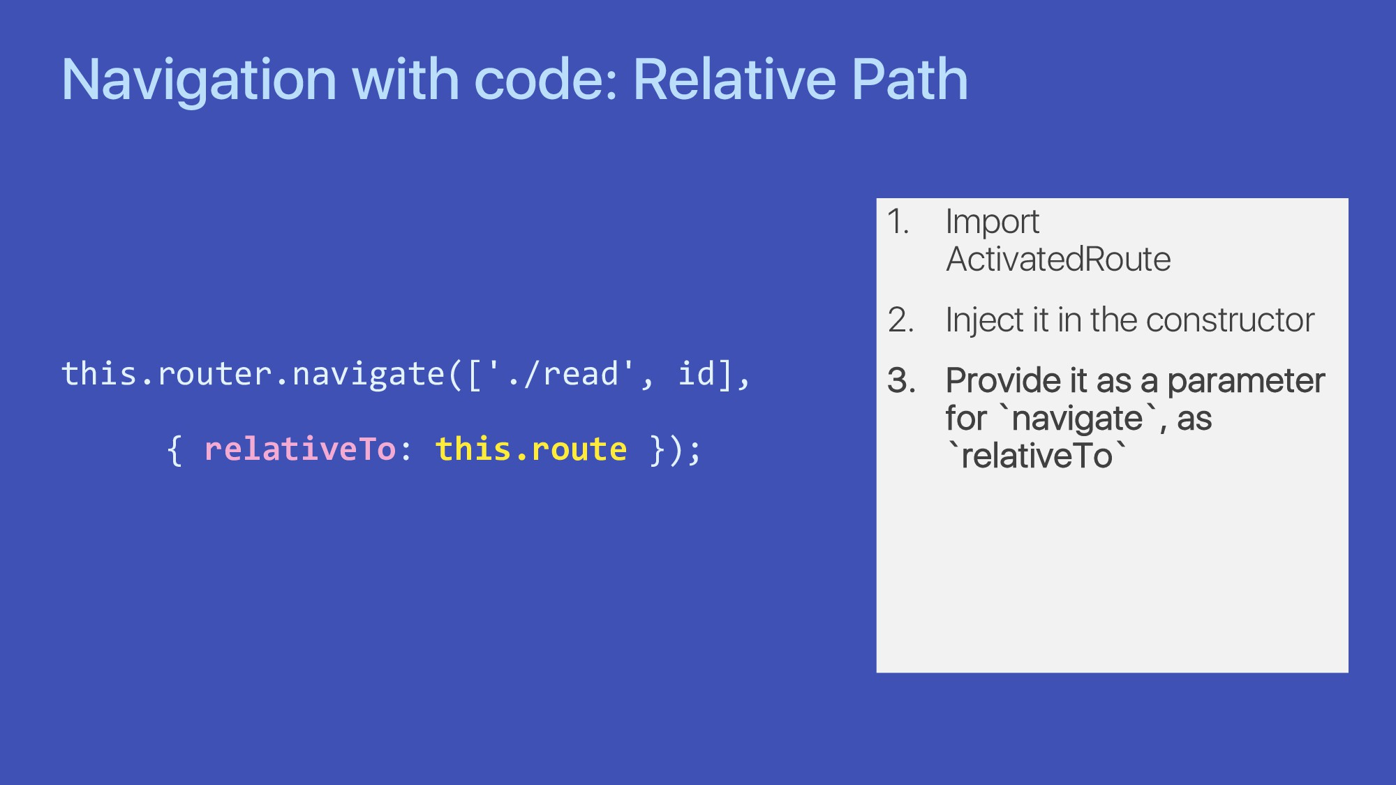 Navigation with code: Relative Path this.router...